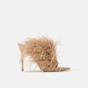 Zara feather heels